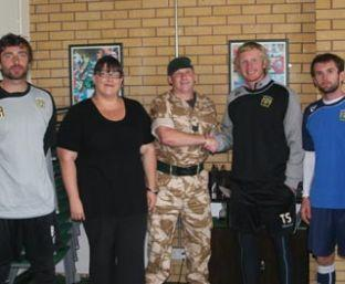 Sgt Jason Mackay meets up with Yeovil Town boss Terry Skiverton at Huish Park. PHOTO: courtesy of www.ytfc.net
