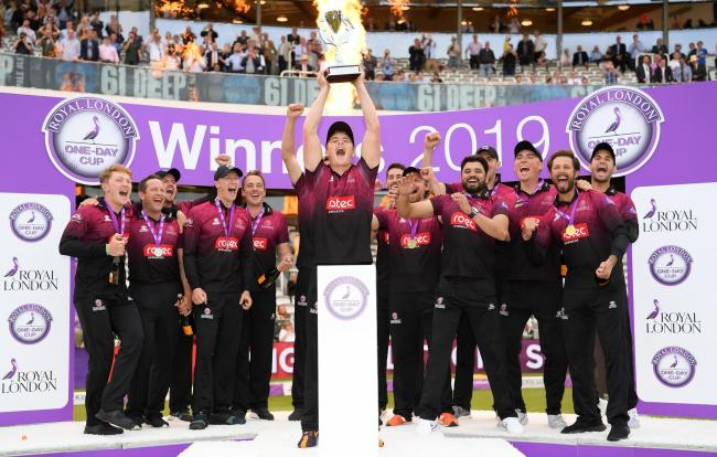 TRIUMPH: Somerset captain Tom Abell lifts the Royal London One-Day Cup at Lord's. Pic: Alex Davidson/SCCC