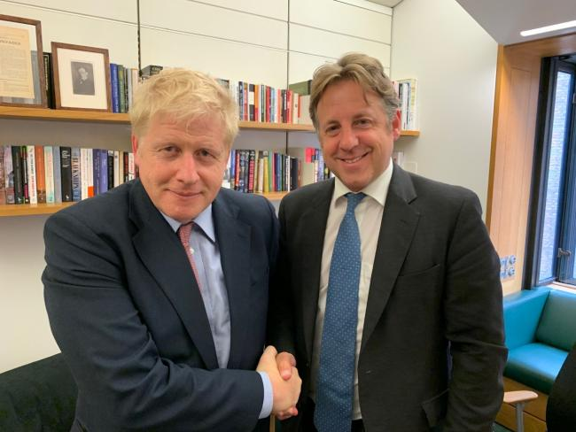 Prime Minister Boris Johnson with South Somerset MP Marcus Fysh