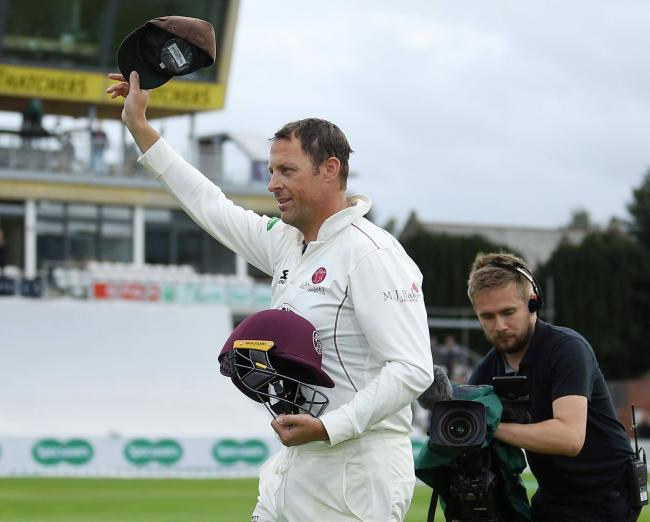 Marcus Trescothick leaves the field for the final time as a Somerset player.