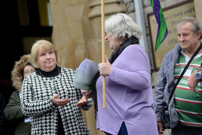 DISAGREE: Cllr Jane Lock at a protest outside of County Hall, where Somerset County Council is based
