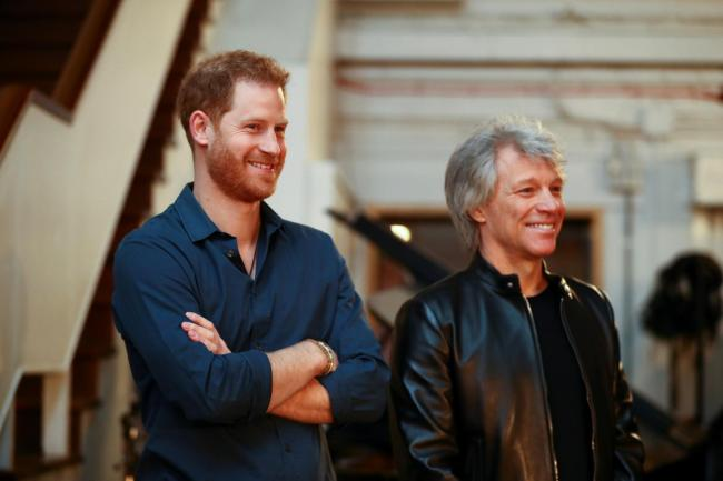 The Duke of Sussex with Jon Bon Jovi at Abbey Road Studios