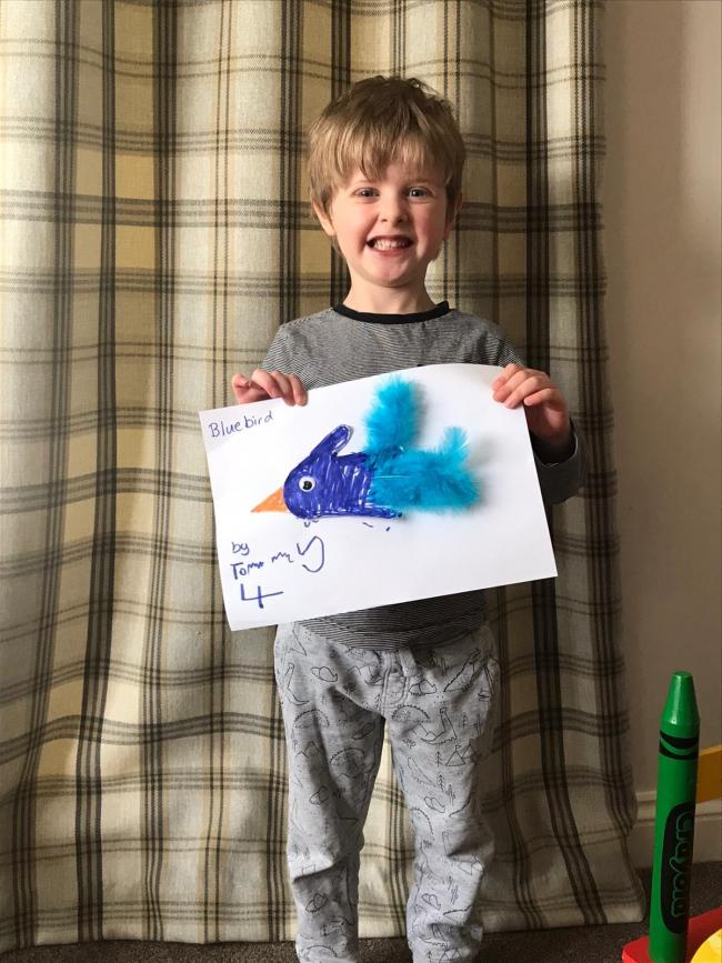 WINNER: Tommy with his bluebird creation