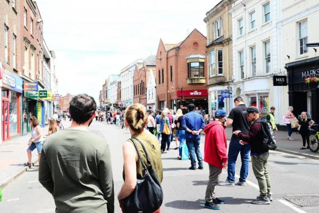 BUSY: Taunton town centre when shops reopened