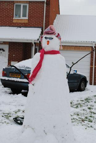 A snowman on Houndstone in Yeovil. Photo: Christine Jones