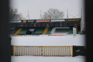 The snow-covered home end of the pitch at Huish Park - home of Yeovil Town FC. Photo: Christine Jones