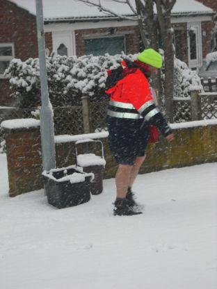 Martin Edwards sent us this photo of a postman - wearing shorts - on his rounds in Yeovil.
