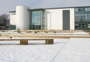 Yeovil College in the snow.
