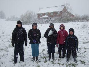 This photo was taken by Sue Hallgate, of Cromwell Road, Yeovil, of (from left) Megan, Isobel, Joseph, Lauren and Kyle enjoying the snow on Wyndham Hill in Yeovil on January 6.