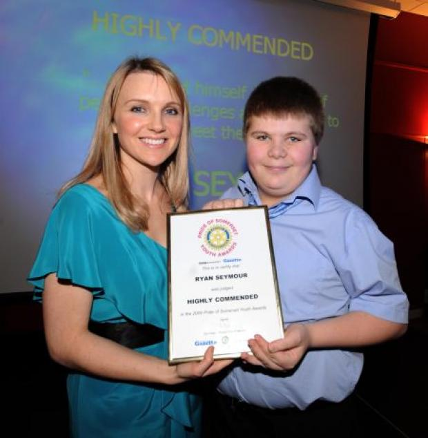 Yeovil Express: Jess Rudkin, editor of BBC Somerset, with Ryan Seymour