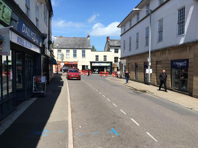 REMOVED: The barriers at the northern end of Holyrood Street in Chard
