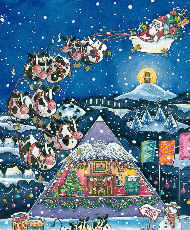 UP FOR GRABS: Kate Chidley's Glastonbury Christmas card