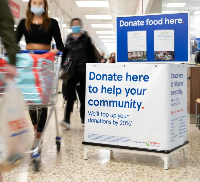 DONATION POINT: Shoppers in Chard and Ilminster will be able to donate to the local foodbank in the FareShare network. Pic: Tesco
