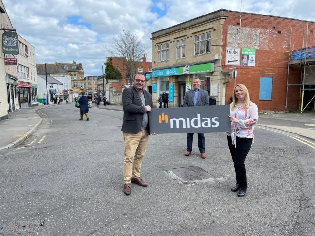 LAUNCH: Mike Borkowski, Business Development Director for Midas Construction (left) with Ian Timms, Yeovil Refresh Project Manager and Natalie Fortt, Regeneration Programme Manager on Westminster Street in Yeovil.