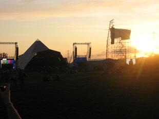 Yeovil Express: THE Pyramid Stage at sunset on Wednesday.