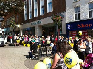 Yeovil Express: People queue to get into the new 99p Store in Yeovil