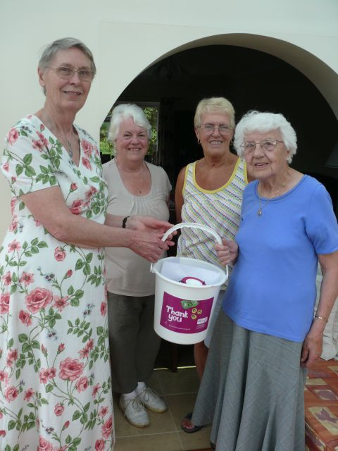 JUDITH Marchent (left), treasurer of the Mid Somerset branch of CLIC Sargent, Carol King from Whitestaunton, Lyn Kemp from Chard and Rene Hipkins, who celebrated her 90th birthday by collecting for the charity. PHOTO: Jamie Brooks