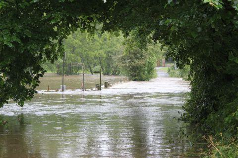 The River Axe burst its banks in places