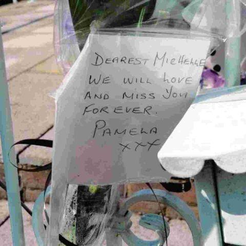A NOTE outside the home of crash victim Michelle Edney, 69, in Canvey Island, Essex.