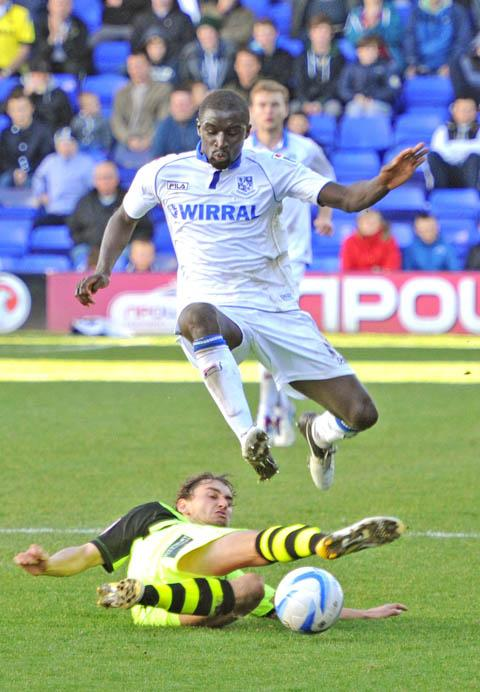 Zoumana Bakayogo on the ball for Tranmere vs Yeovil in 2012.