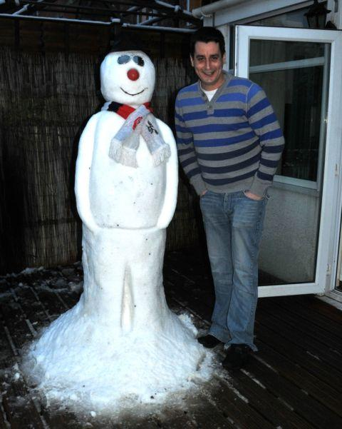Daniel Searle with Snowy in Bridgwater, Somerset. January 23, 2013.