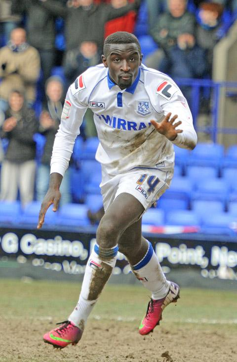 Zoumana Bakayogo in action for Tranmere Rovers, before moving to Leicester.