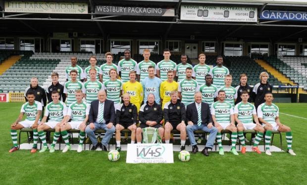 The 2013/14 squad line up at Huish Park.