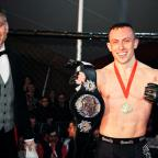 Yeovil Express: Richard Buskin after winning the lightweight UFW champion belt