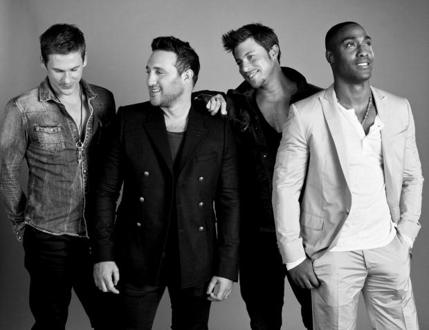 BLUE in black and white: from left are Lee Ryan, Antony Costa, Duncan James and Simon Webbe.