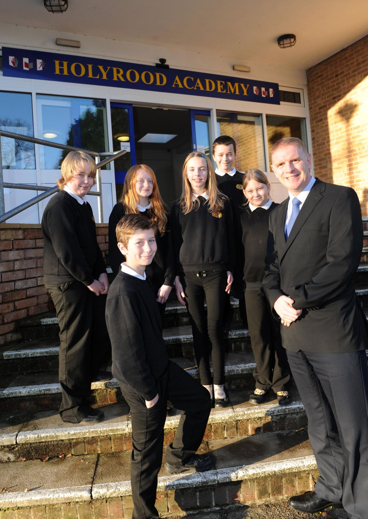 Head teacher Martin Brook with some of the students.