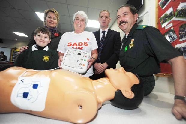 Defibrillator training at Holyrood Academy in Chard