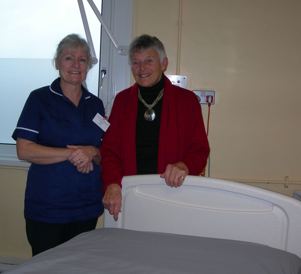 NORA Arnold and ward sister Michelle with one of the mattresses.