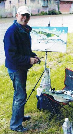 MIKE Aplin: the painter at work.