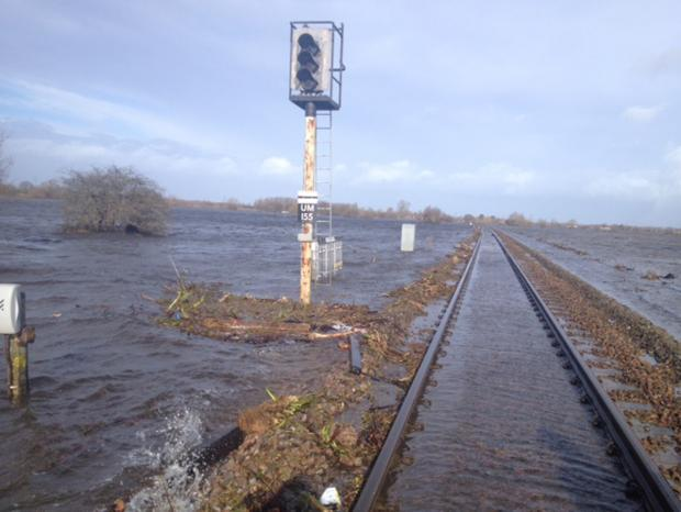 FLOODED: The railway line between Taunton and Bridgwater - a replacement bus service is in place.
