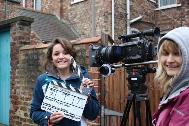 Yeovil Express: FILM director Tanya Cook on set with Laura Dodds operating the camera.
