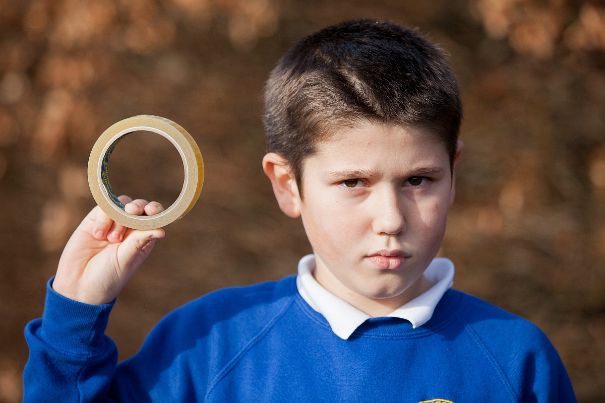Pupil Thomas Bradbury, ten, outside of Danesfield School. PHOTO: SWNS