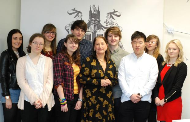 PROFESSOR Mary Stuart with scholarship winners from the University of Lincoln