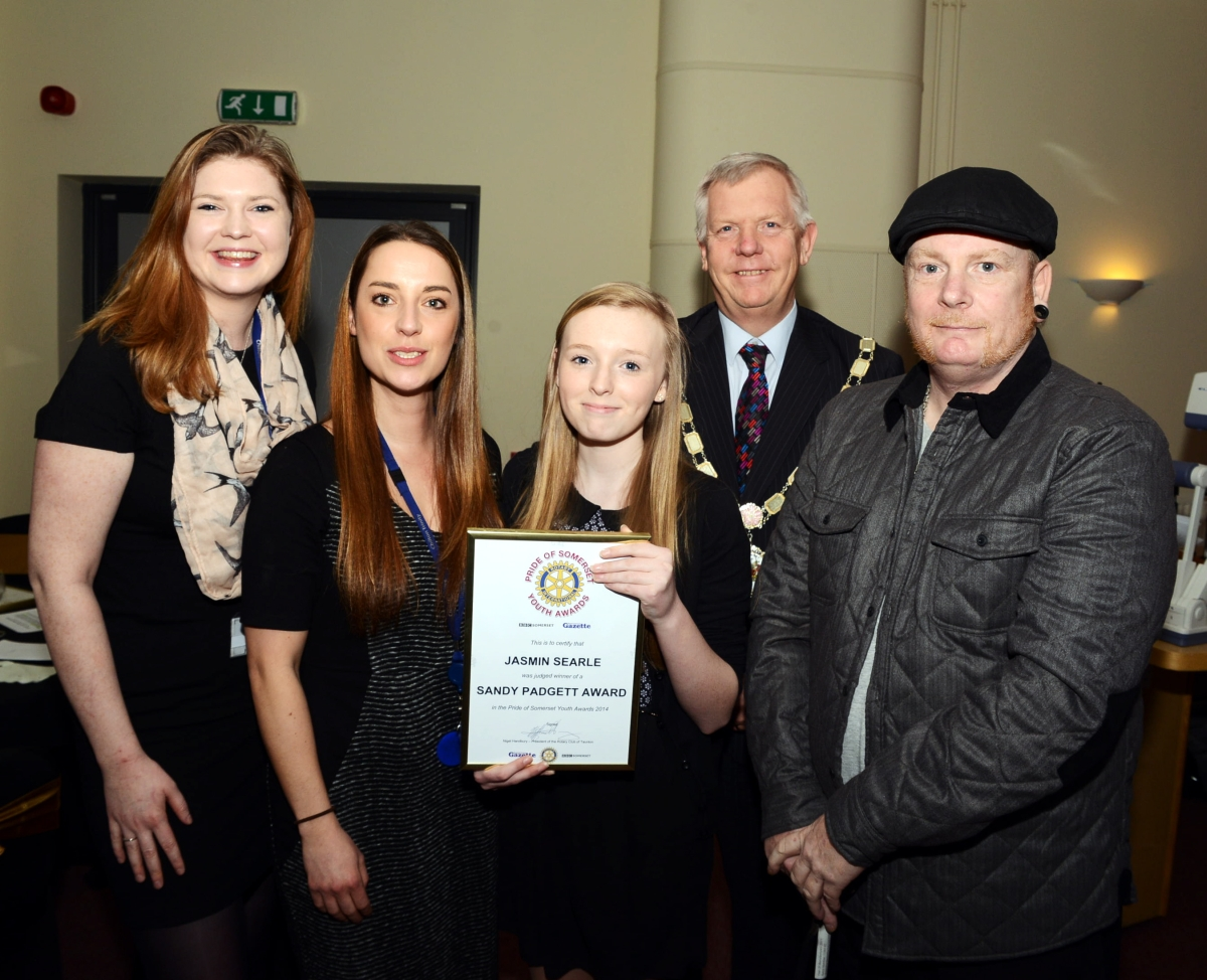 KAT Hollinghurst and Beth Tinker, of Chilton Trinity School, Jasmin Searle, Somerset County Council chairman Cllr David Fothergill, and Jasmin's dad, Mark Searle.