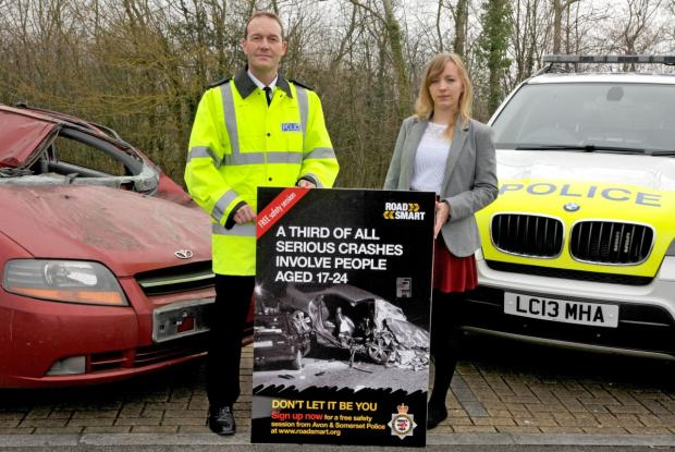 Yeovil Express: Supt Ian Smith with Rowan Webber, one of the volunteers who took part in the Road Smart pilot session.