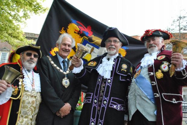 THE Mayor of Yeovil, Cllr Manny Roper, second left, and Yeovil town crier Bruce Trigger, left, with town criers David Craner, second right, of Crewkerne, and Andrew Fox, right, of Ilminster. Photo: Christine Jones