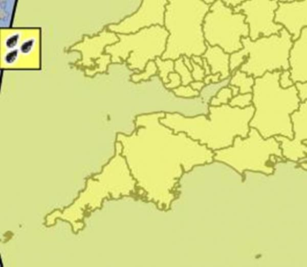 A YELLOW warning has been issued for England's South West. IMAGE: