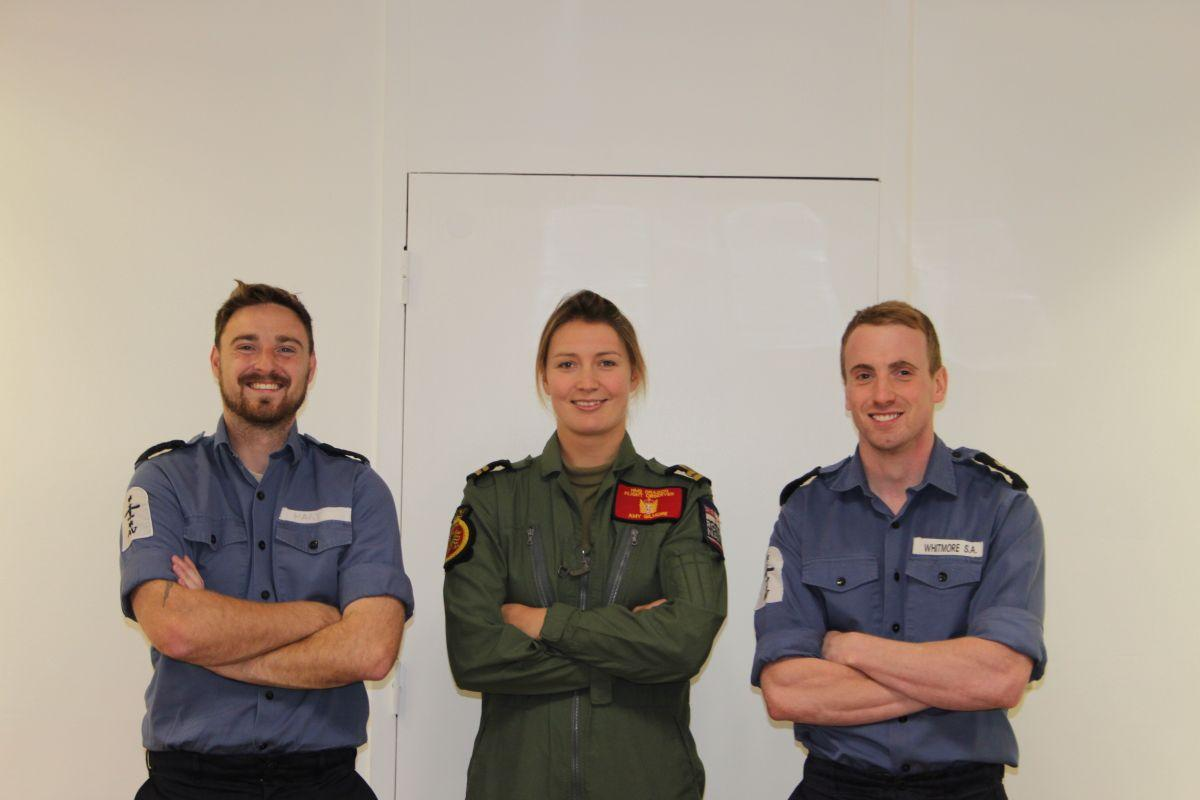 LAET Iain Hart, Lt Amy Gilmore and LAET Sean Whitmore from the Royal Naval Air Station in Yeovilton all took part in an abseil for charity. PHOTO: Submitted.