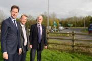 DEPUTY Prime Minister Nick Clegg paid a visit to Ilminster - pictured with Yeovil MP David Laws and South Somerset Council leader Ric Pallister. PHOTO: Geoff Hall.