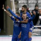 Yeovil Express: Leicester's Jamie Vardy, front, celebrates his record-equalling goal at Newcastle last week