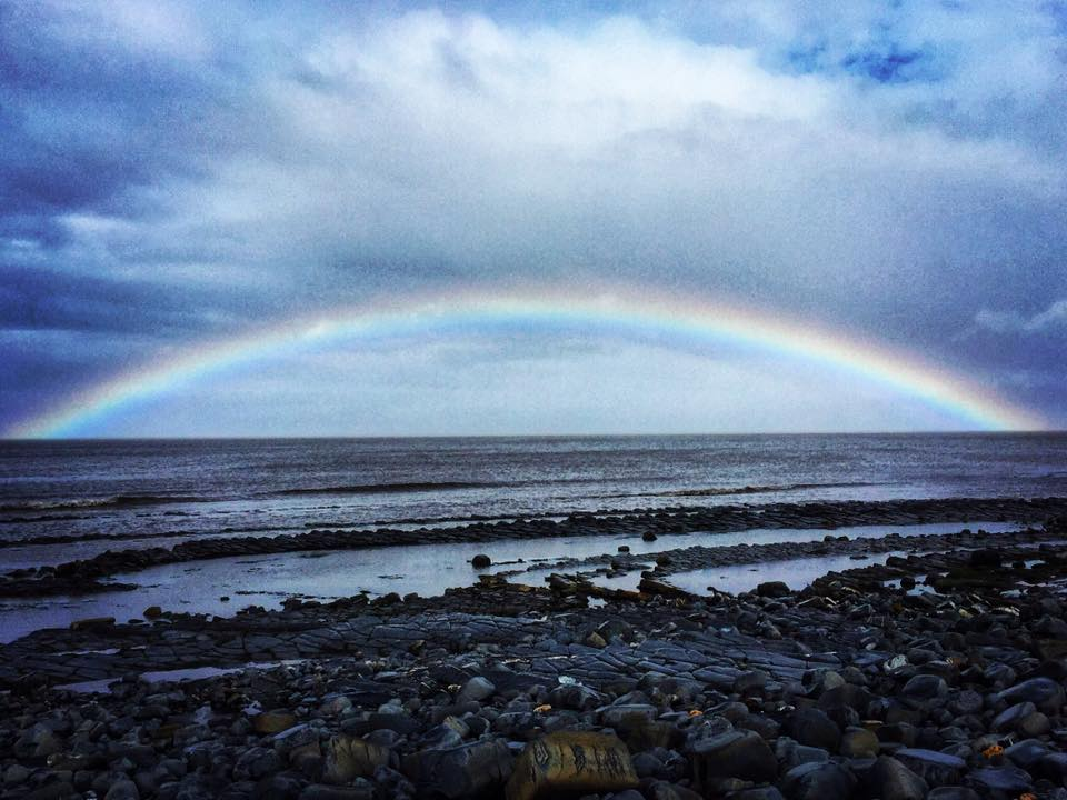 BEAUTIFUL: A rainbow on Kilve Beach by Debi Ann Moss - Somerset Camera Club