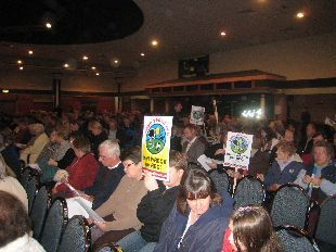 Protestors packed Westland Leisure Complex for the crucial Sports Zone meeting. PHOTO: Steve Sowden