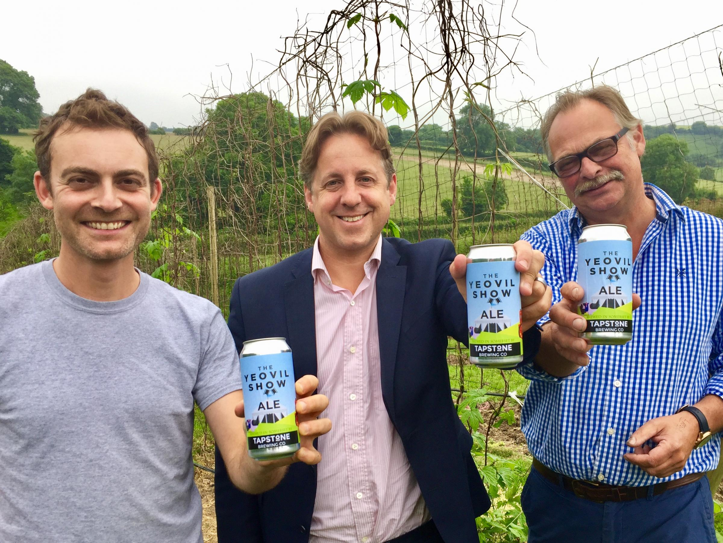 NEW ALE: Brewer James Davies, MP Marcus Fysh and Graham Murgatroyd