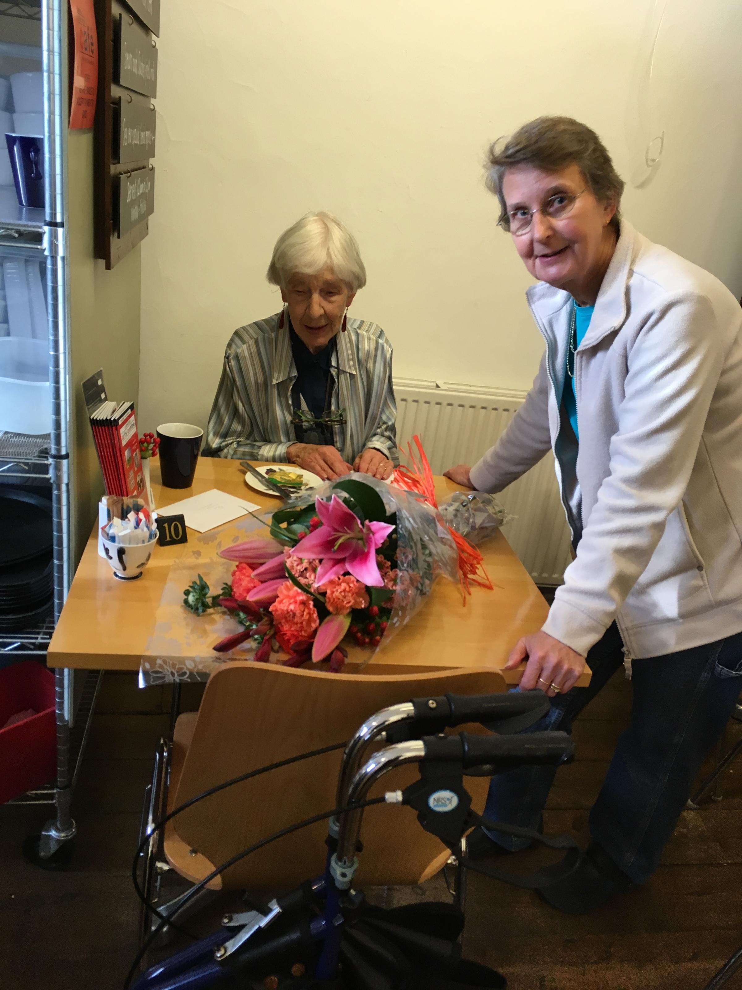THANKFUL: Volunteer Helen Walker with Christine Walker from Ilminster Arts Centre