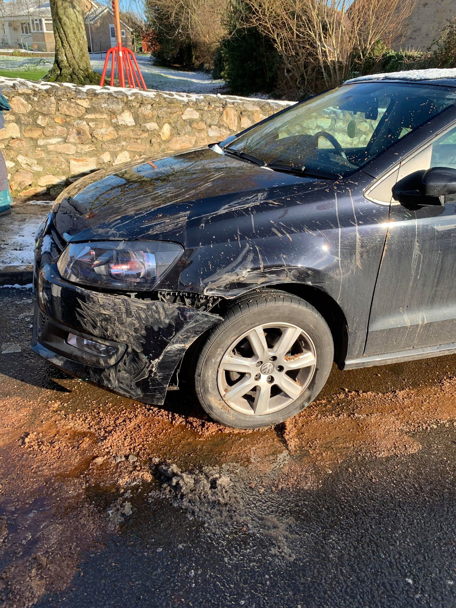 CRASH: Abigail's car after a lorry skidding in the wintery conditions