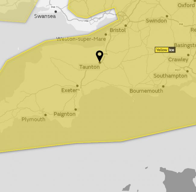 WARNING: A yellow weather warning for ice has been issued across Somerset
